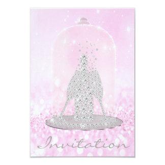 Glitzer-rosa Diamant-Glas-Blasen-Champagne-Grau Karte