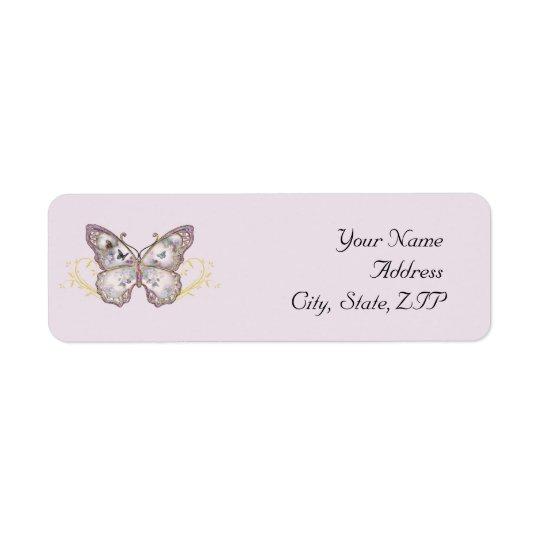 Glitzer-Schmetterling auf Lavendel Rückversand-Adressaufkleber