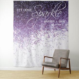 Glitzerlila Confetti-Hochzeits-Hintergrund-Empfang Wandteppich
