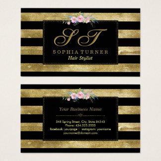 Glitzern-gestreifter GoldGlitter-Blumenmonogramm Visitenkarte