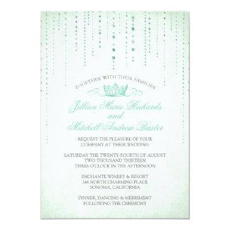 Glitzern u. Kronefairytale-Hochzeits-Einladung 12,7 X 17,8 Cm Einladungskarte