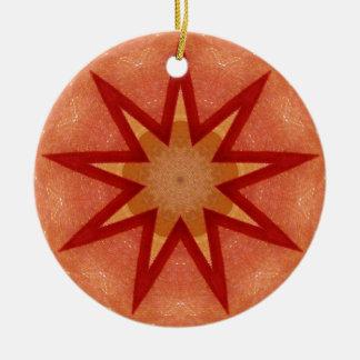 Glitzerndes rotes Weihnachtsstern-Fraktal Rundes Keramik Ornament