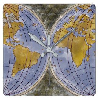 Globale Zeiten Quadratische Wanduhr