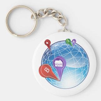 Globe de voyage de Pin de carte Porte-clé Rond