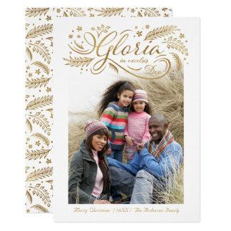 Gloria im excelsis Deo Foto-Weihnachtskarten-Gold Karte