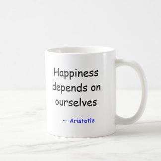 Glück hängt von uns selbst ab, ---Aristoteles Kaffeetasse