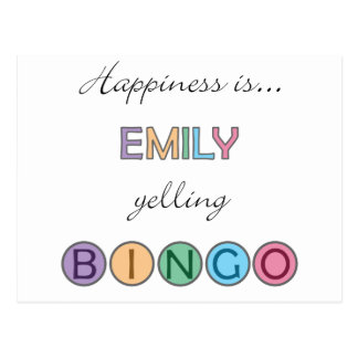 Glück ist Emily, die BINGO schreit Postkarte