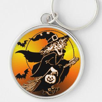 Glücklich gehen Hexe glückliche Silberfarbener Runder Schlüsselanhänger