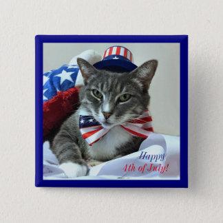 Glücklich Juli 4. mit Katze Quadratischer Button 5,1 Cm