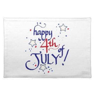 Glücklich Juli 4. Stofftischset