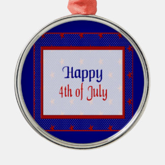 Glücklich spielt Juli 4., Rot auf Blauem und Rundes Silberfarbenes Ornament