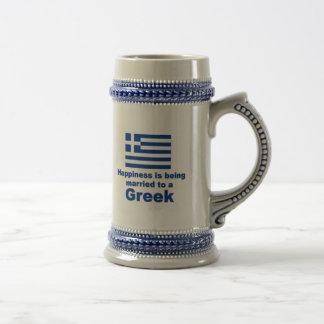 Glücklich verheiratet zu einem Griechen Bierkrug