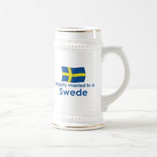 Glücklich verheiratet zu einem Schweden Bierglas