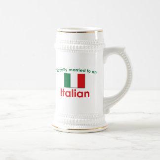 Glücklich verheirateter Italiener Bierglas