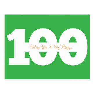 Glückliche 100. Geburtstags-Meilenstein-Postkarten Postkarte