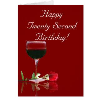 Glückliche 22. Geburtstags-Wein-und Rosen-Karte Karte