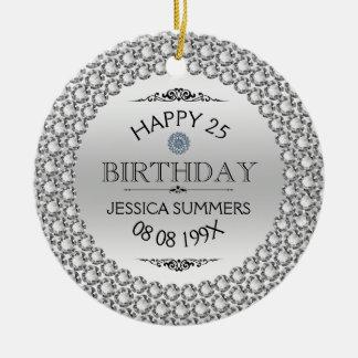 Glückliche 25. Geburtstags-Diamanten u. Silber Rundes Keramik Ornament