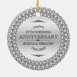 Glückliche 25. Hochzeitstag-Diamanten u. Silber Rundes Keramik Ornament