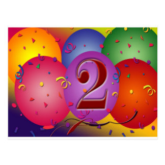 Glückliche 2. Geburtstags-Ballone Postkarte