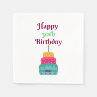 Glückliche 50. Geburtstags-Kuchen-Servietten Serviette
