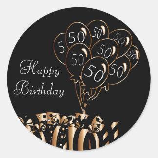 Glückliche 50. schwarze Ballone des Geburtstags-| Runder Aufkleber