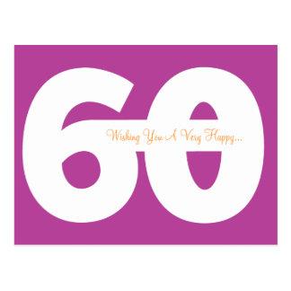 Glückliche 60. Geburtstags-Meilenstein-Postkarten Postkarte