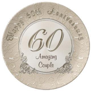 Glückliche 60. Hochzeitstag-Geschenke Porzellanteller