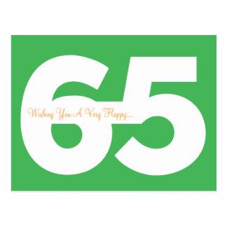 Glückliche 65. Geburtstags-Meilenstein-Postkarten Postkarte