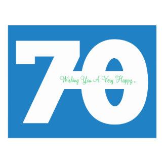 Glückliche 70. Geburtstags-Meilenstein-Postkarten Postkarte