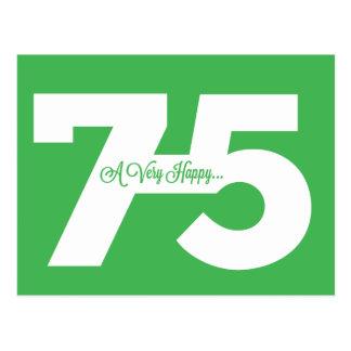 Glückliche 75. Geburtstags-Meilenstein-Postkarten Postkarte
