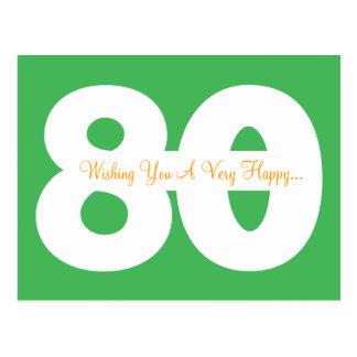 Glückliche 80. Geburtstags-Meilenstein-Postkarten Postkarte