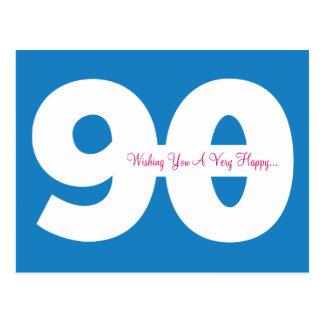 Glückliche 90. Geburtstags-Meilenstein-Postkarten Postkarte