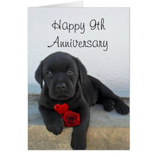 Glückliche 9. Jahrestags-Labrador-Welpengrußkarte Grußkarte