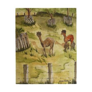 Glückliche Alpakas Holzwanddeko