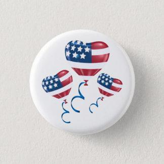 Glückliche am 4. Juli Herzballone Runder Button 3,2 Cm