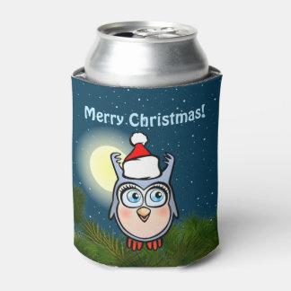 Glückliche Baby-Eule mit Weihnachtshut Dosenkühler
