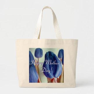 Glückliche blaue Tulpen der Mutter Tages Leinentasche