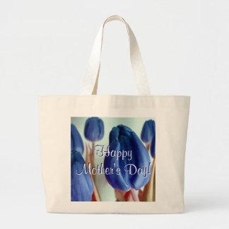 Glückliche blaue Tulpen der Mutter Tagesi Tragetaschen