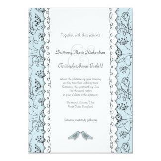Glückliche blaue Vögel, die Gekritzel-modisches 12,7 X 17,8 Cm Einladungskarte