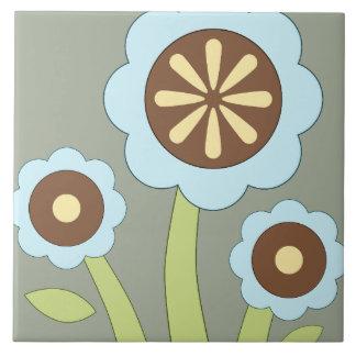 Glückliche Blumen Große Quadratische Fliese