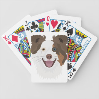 Glückliche Border-Collie Gesicht der Illustration Bicycle Spielkarten