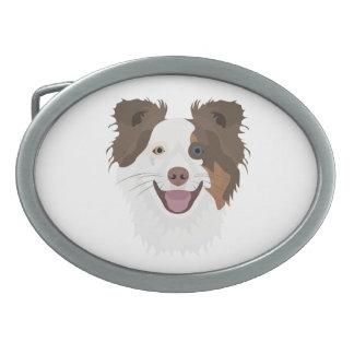 Glückliche Border-Collie Gesicht der Illustration Ovale Gürtelschnallen
