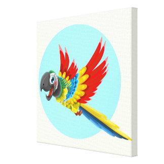 Glückliche bunte Papageien-Cartoonkinder Leinwanddruck