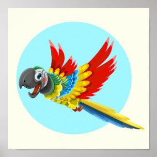 Glückliche bunte Papageien-Cartoonkinder Poster