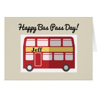 Glückliche Bus-Durchlauf-Tagesruhestands-Karte Grußkarte