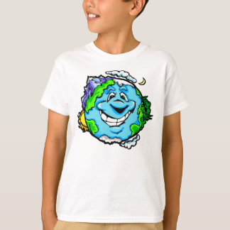 Glückliche Cartoon-Erde scherzt T-Stück T-Shirt