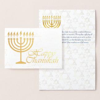 Glückliche Chanukah Goldfolie mit der Segnung von Folienkarte