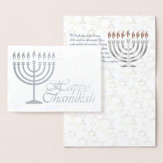 Glückliche Chanukah silberne Folie mit Segen Folienkarte