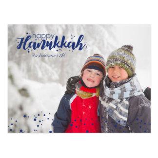 Glückliche Chanukka-Schnee-Blasen-Foto-Postkarten Postkarte