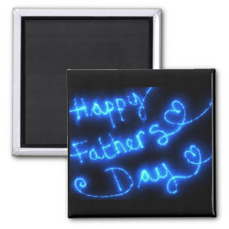 Glückliche der Vatertags-Blau-Lichter Quadratischer Magnet